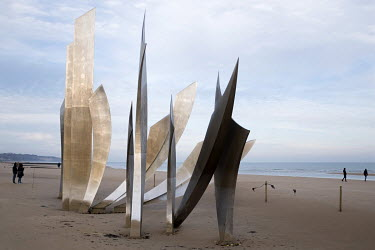 Les Braves, by French sculptor Anilore Banon, a memorial to US soldiers who fought on Omaha Beach. The beach was one of the five landing sites along the Normandy coast where allied forces landed on D-...