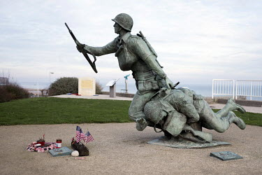 'Ever Forward', a statue of two American soldiers above Omaha Beach, one of the five landing sites along the Normandy coast where allied forces landed on D-Day, 6 June 1944, as Operation Overlord, the...