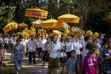 A procession in the temple complex of Angkor Wat.