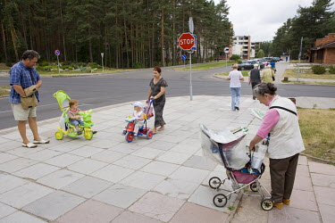 A woman is selling newspapers in Visaginas, a city which is mainly inhabited by Russian workers from the Ignalina Nuclear Power Plant, scheduled for closure in 2009.