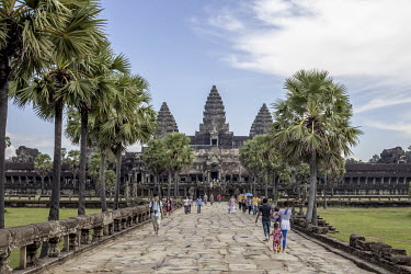 Tourists visiting the temple complex of Angkor Wat.