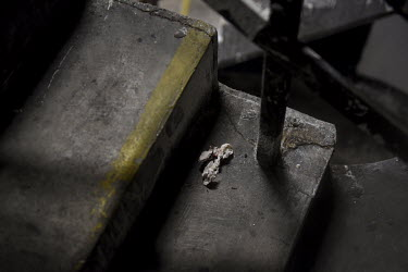 A bloodied tissue discarded by an addict injecting heroin, lies on the steps leading to an underground car park in the city centre which is a well-known place to use drugs for many addicts living on t...