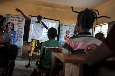 A former tramadol addict giving testimony during a drug education session presented by local NGO Alliance Nationale des Consommateurs et de l'Environnement (ANCE) at the Blaise Pascal school complex....