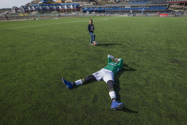 Patrick Larsen, from Greenland football league side N48, lies on his back overcome with emotion after his team won against B-67 putting them into the final which they would go on to win.~~The Greenlan...