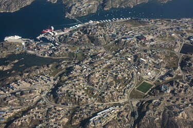 An aerial view of Sisimiut with the town's sport stadium in the south east.