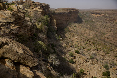 Cliffs that form the edge of the Bandiagara escarpment. Once a popular tourist trekking route, it is now a place of conflict between the region's Dogon farmers and Fulani (Peul) pastoralists.