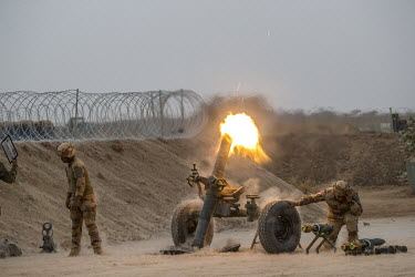 French soldiers fire mortar rounds at Islamist fighter's positions during Operation Koufra which was part of the larger Operation Barkhane. The soldiers were searching for Islamist terrorists from EIG...
