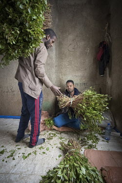At a qat trading stall in Aweday, a big hub for the qat trade, a middleman offers qat to a trader, the price, dependant on the demand and quality, is negotiated on the spot.