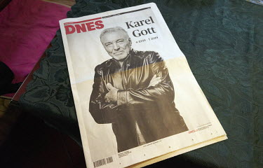 A photo of Karel Gott on front page of Czech newspaper Dnes. Karel Gott was a Czech pop singer who died at the age of 80. He was known as the 'Sinatra of the East'.