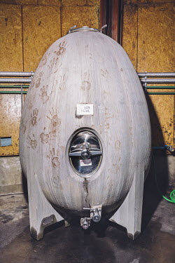 A concrete egg is used to ferment wine in the experimental bodega at the Tikal Natural Vineyards. The owner of the vineyard, Ernesto Catena, hails from one of the most influential wine families in Arg...