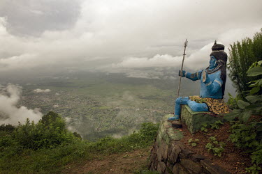 A statue of Shiva overlooking the Surkhet valley.