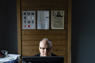 Jaroslaw Kurski (left) vice editor-in-chief of Gazeta Wyborcza, the largest opposition newspaper in Poland, in his office at the newspaper's headquarters.