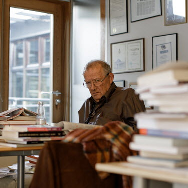 Adam Michnik, editor-in-chief and founder of Gazeta Wyborcza, the largest opposition newspaper in Poland,in his office at the newspaper's headquarters.