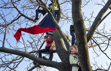 Children with the Czech national flag who have climbed a tree to get a better view of a demonstration where around 250,000 people gathered in Letna Park on the eve of the 30th anniversary of the Velve...
