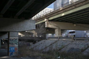 Land beneath the Gardiner Expressway, a popular place for homelss people to set up camps.