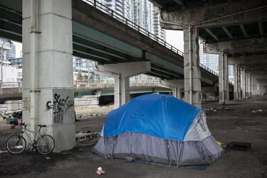 A homeless people's camp beneath the Gardiner Expressway.