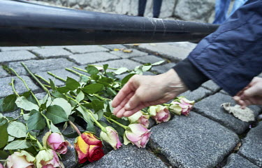 A man leaves rose for students who stood for freedom in 1989 during a recreation of the 17 November 1989 march from Albertov to Avenue of the Nation (Narodni trida) during the 30th anniversary of Velv...