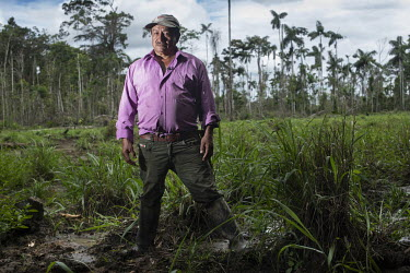 Marco Aurelio Zapata on his land in the rainforests of the Serrania de Chiribiquete National Park. The landowner and former coca farmer says he is under constant pressure to sell his land (230 hectare...