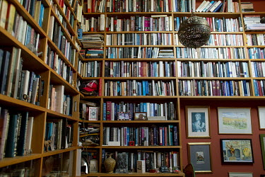 Shelves of books in the home of author and historian, Tom Holland, in south London. Tom has a new book out, Dominion, about how Christianity has shaped the Western world.