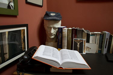 A bust of Julius Caesar and books in the home of author and historian, Tom Holland, in south London. Tom has a new book out, Dominion, about how Christianity has shaped the Western world.