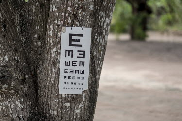A 'tumbling E' chart hangs from a tree at an eye screening camp.