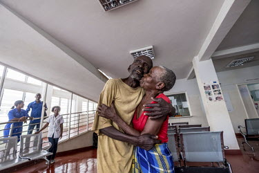 Sahura and husband, Gordane Mussa, celebrate after Sahura's successful cataract operation restored her eyesight. Both of them had been blind for several years due to untreated cataracts.