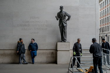A statue of George Orwell stands near the entrance to Broadcasting House, London home of the BBC, with the inscription ''If liberty means anything at all, it means the right to tell people what they d...