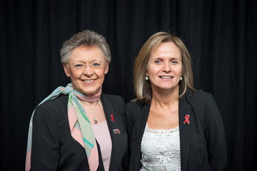 Francoise Barre-Sinoussi (left) and Sharon Lewin together at the 20th International AIDS Conference held at the Melbourne Exhibition Centre.