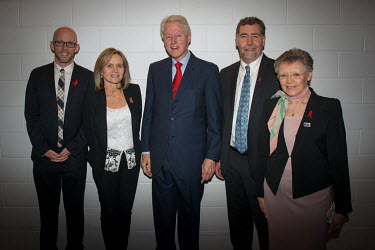 President Bill Clinton with L-R: Owen Ryan, Sharon Lewin, Chris Beyrer Francoise Barre-Sinoussi at the 20th International AIDS Conference held at the Melbourne Exhibition Centre.