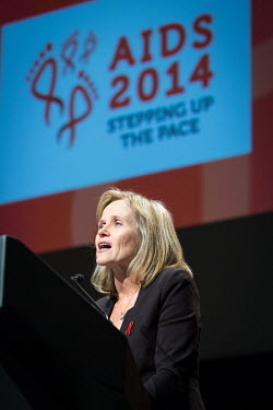 Sharon Lewin speaking at the 20th International AIDS Conference held at the Melbourne Exhibition Centre.