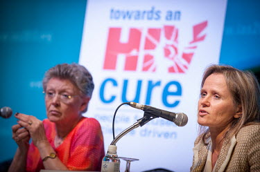 Sharon Lewin (right) speaking at a press conference during the 7th International AIDS Society (IAS) Conference on HIV Pathogenesis, Treatment and Prevention.