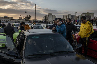 Members of the BMW drifting club, a group who get together to perform stunts in their imported German cars, attended a rally in support of the Libyan National Army in Revolution Square.