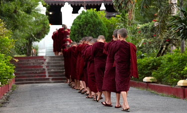 Novice monks praying at the Shwe Nan Daw Kyaung monastery.
