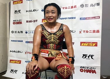 Meiko Satomura, a star of women's wrestling promotion Sendai Girls, is interviewed after a bout at a women's wrestling competition held at the Shin-Kiba 1st Ring in the Shinkiba district.