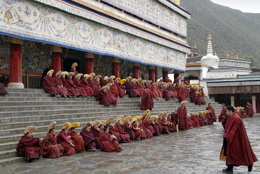 Buddhist monks from the Lamaist Tibetan Yellow Hat sect gather in the Labrang monastery for the monthly 'Sacrifice Ritual'.