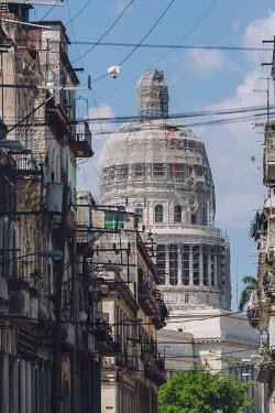 Scaffold covers the exterior of the Capitolio Nacional de La Habana as restoration work is in progress on its dome.