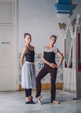 Chavela Riera (left, 24, first soloist) and Ginett Moncho (right, 34, principal ballerina) are both dancers at the Ballet Nacional de Cuba. Photographed at the company's rehearsal studios.