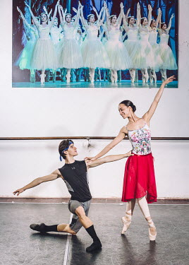 Diego Donald Tapanes (left, 19, corps de ballet) and Claudia Garcia (22, right, principal ballerina) are both dancers at the Ballet Nacional de Cuba. Photographed at the company's rehearsal studios.