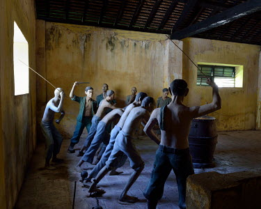 A reconstruction of the forced labour that took place in the Phu Hai prison, built in 1862 during the French colonial-era.
