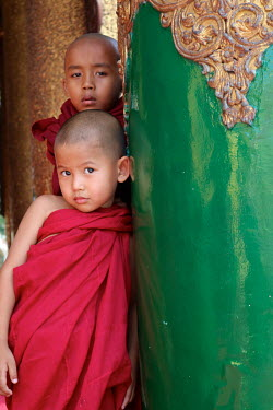 Novice monks at the Shwedagon Pagoda.