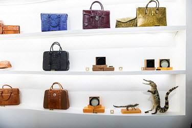 Crocodile skin products on display in the visitor centre at the Chai Tai Saimese Crocodile Breeding Base, designed as an auxiliary operation to the nearby poultry firm Charoen Pokphand Group Co. The c...