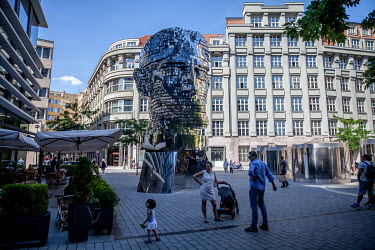 42 movable levels of the eleven metre high 3D sculpture, in the form of the face of the famous Czech writer Franz Kafka. The 39-ton bust by the artist David Cerny, and installed in 2014, stands next t...