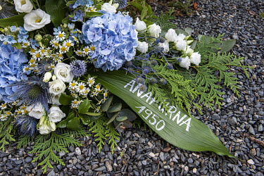 A wreath at the Chamonix cemetery laid during the annual Fete des Guides. The 2020 event celebrated the 70th anniversary of the summiting, in 1950 by a French team, of Annapurna which was the first ti...
