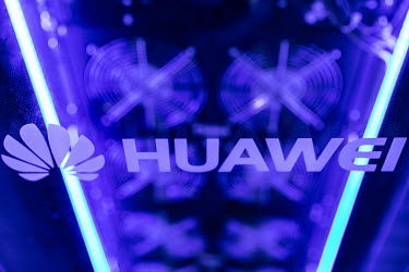 A Huawei company logo displayed at the Huawei Connect 2017 conference.