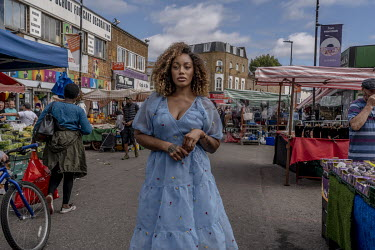 Playwright and screenwriter Theresa Ikoko in Ridley Road Market in Dalston.