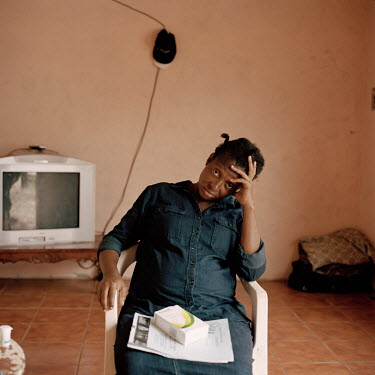 Nacha Nzenga, a migrant from Congo, in the small one-bedroom apartment she has been living in Tapachula together with her husband, their three children, and her brother. They say they left Congo due t...