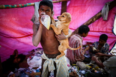 A boy inhales solvants in a plastic bag while holding a puupy.   It is estimated that there are more than 600,000 street children living in Bangladesh, 75% of them live in the nation's capital, Dhaka...