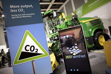 Low emission agricultural machinery on display at a booth in the agriculture section at Gruene Woche, International Green Week, the world's largest international agricultural trade fair for food and a...