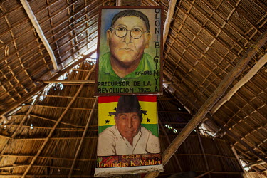 Pictures of historical leaders of the Guna indigenous people displayed in a building on Gardi Sugdub island in the San Blas Archipelago. Destructive tidal surges and human overpopulation are forcing P...
