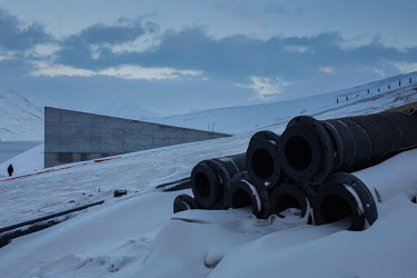 Insulated pipes used for repairs and renovations at the Global Seed Vault where, in recent years, the main tunnel has experienced some flooding due to permafrost melt. Temperatures in this region are...